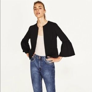 Zara Black Blazer Jacket with Bell Sleeves